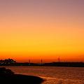 写真: 河北潟とサンセットブリッジ