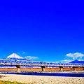 東海道新幹線 富士川橋梁 新幹線500系電車
