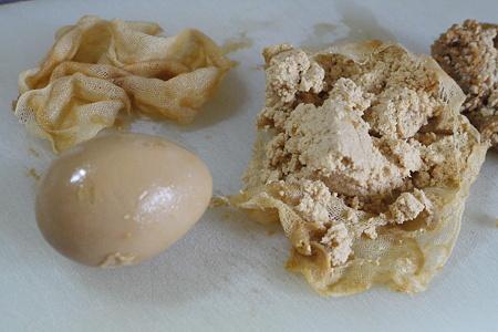 発掘された味噌漬けゆで卵とクリームチーズ