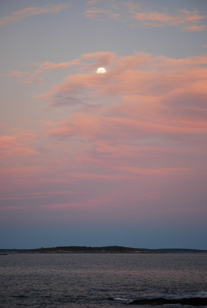 The Moon in Pink Clouds