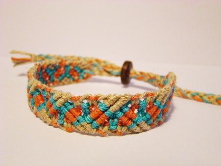 巻き結びと七宝編みブレス