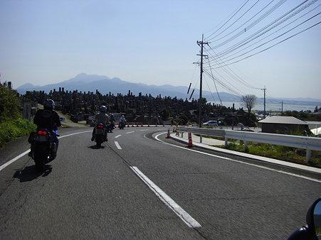 堤防道路へ
