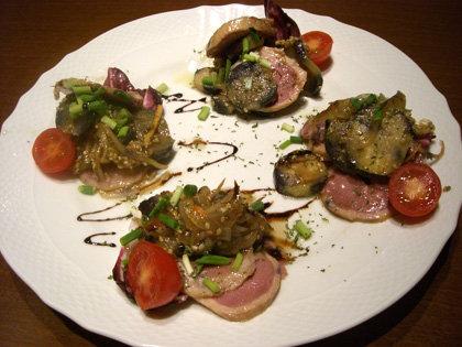合鴨とナスの前菜