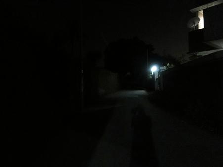 ホテルの小道は暗いでー