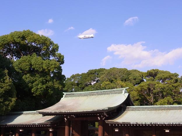 【東京|渋谷・原宿】 明治神宮上空の飛行船(2)