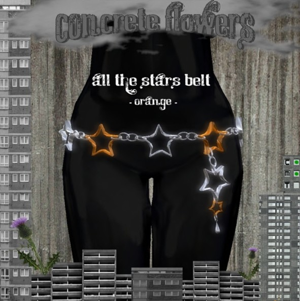 CONCRETE FLOWERS- ALL THE STARS BELT -orange-