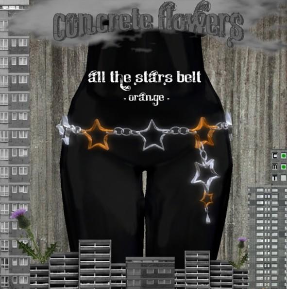CONCRETE FLOWERS- ALL THE STARS BELT -orange-